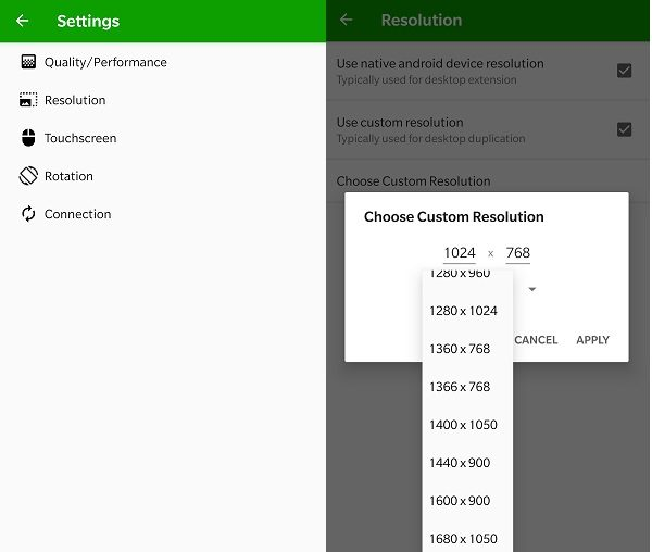 Android Second Monitor Resolution