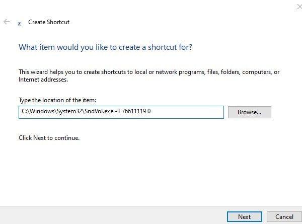 Enter Volume Control Shortcut Location