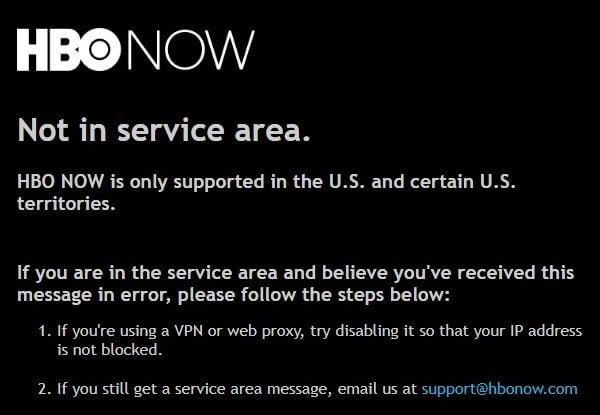 HBO - Not in service area