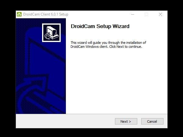 Install Droidcam Windows Client Setup