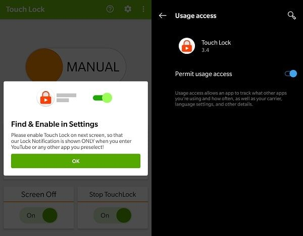 Permit Usage Access - Touch Lock