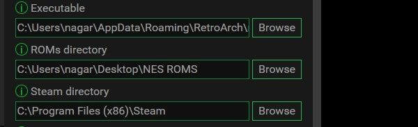 Select Steam RetroArch and ROM Directory