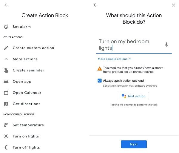 Create Action block for Smart Lights