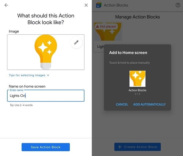 Customize Action Block - Add Action Block