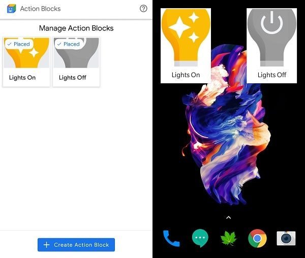 Manage Action Blocks - Lights Widget added