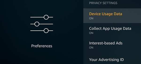 Privacy Settings - Fire TV Stick