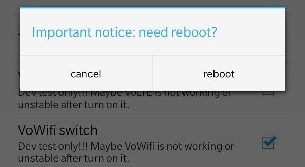 Reboot OnePlus Device to Enable VoWiFi