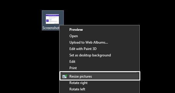 Resize pictures option in File Explore Context Menu