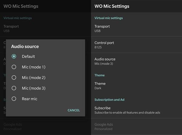 Select Wo Mic Mode 3