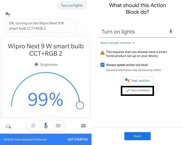 Test Completed - Add Google Assistant Shortcuts to the home screen
