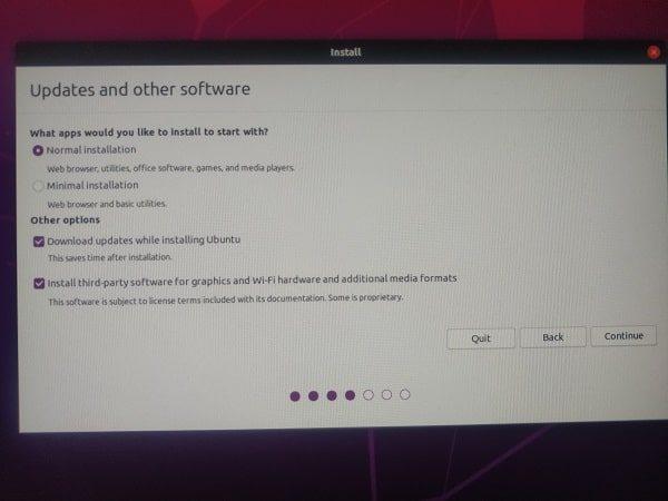 Ubuntu - Normal Installation - Download updates