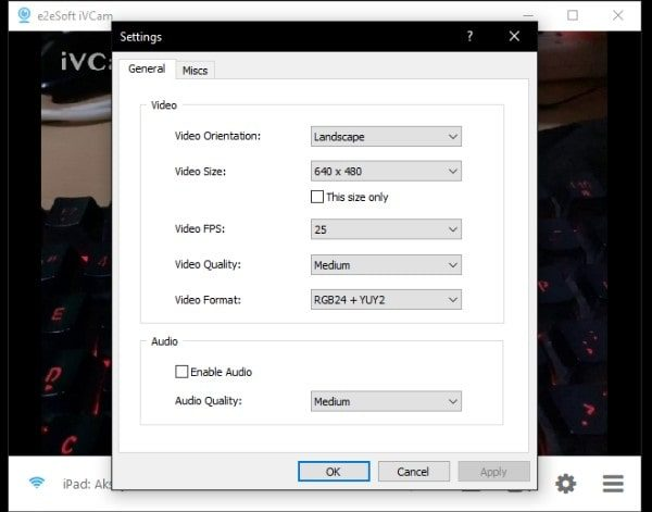 iVCam Connected - Settings Page