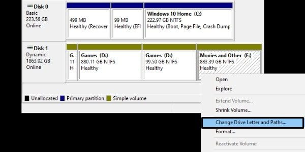 Change Drive Letter and Paths - Disk management