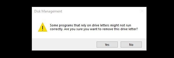 Confirm to remove drive letter