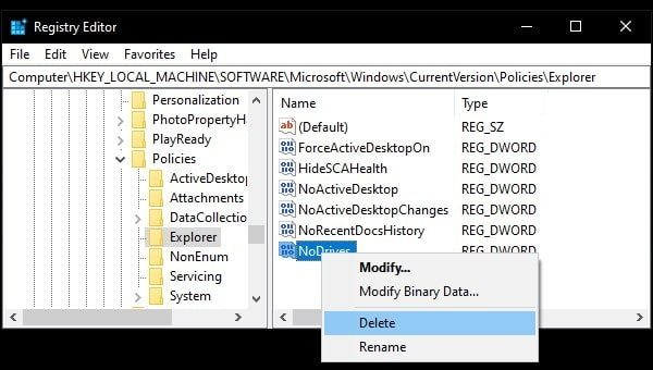 Delete Registry to show drive back