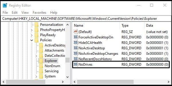 Enter NoDrives Name - Hide Drive in Windows 10