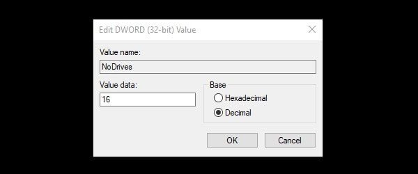 Enter decimal value data to hide drive