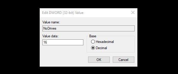 Enter decimal value data to hide drive