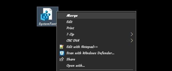 Merge System Font to Restore Default Font