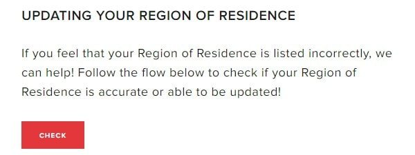 Update your Region of Residence