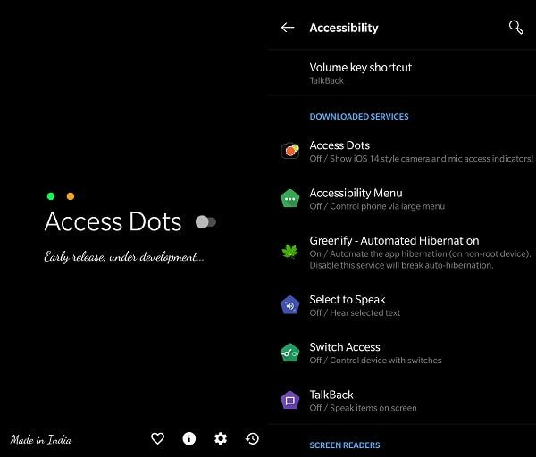 Access Dots iOS 14 camera and mic access indicators on Android