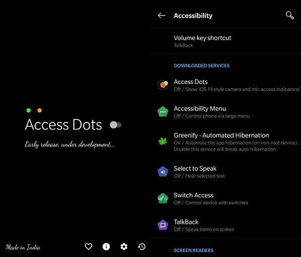 Access Dots iOS 14 camera and mic access indicators on Android
