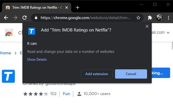 Add Extension to See IMDb ratings in Netflix Site