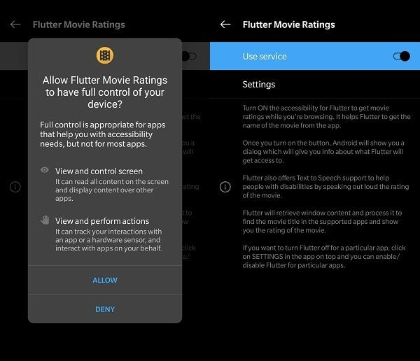 Allow Flutter to use Accessibility Service