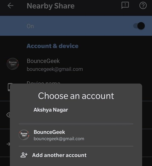 Change Gmail Account - Nearby Share for Android