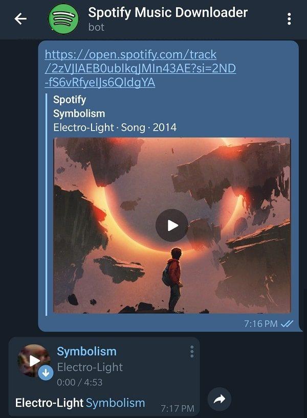 Download Song using Link - Spotify Telegram Downloader