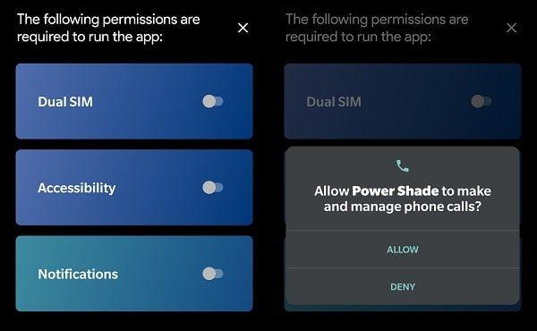 Allow Dual SIM Permission Power Shade App
