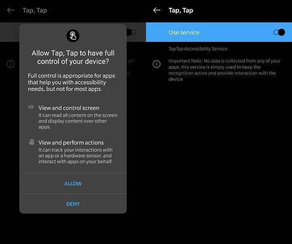 Allow Tap Tap App Accessibility Permission