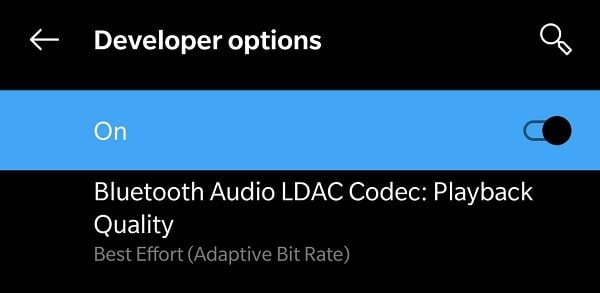 Bluetooth Audio LDAC Codec Playback Quality