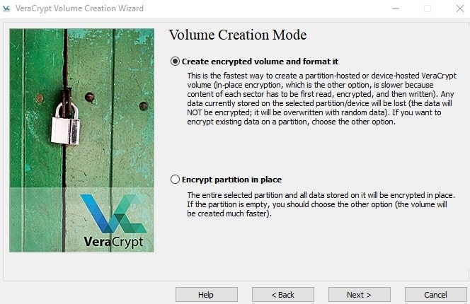 Create encrypted volume and format it