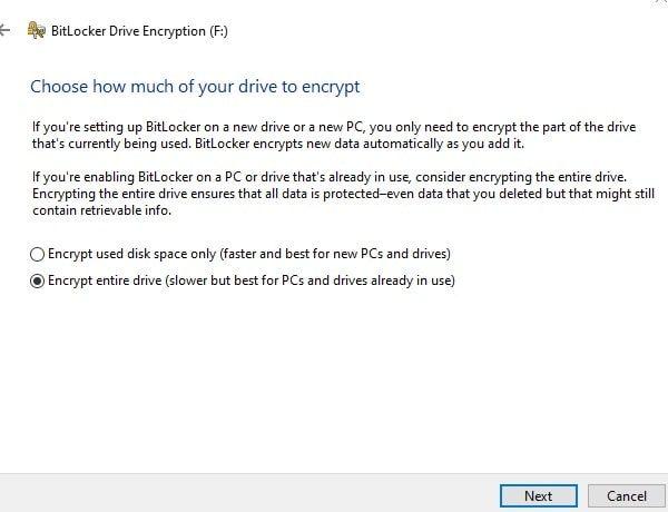 Encrypt Entire Drive - BitLocker