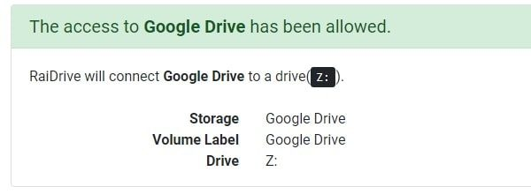 Google Drive has been allowed