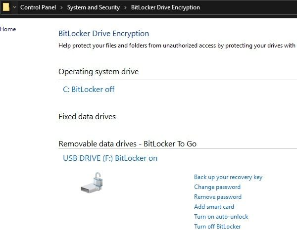 Remove BitLocker Password