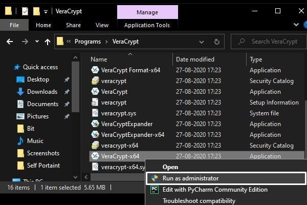 Run VeraCrypt as administrator