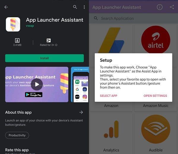 Setup App Launcher Assistant Open Settings