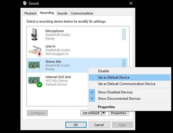 Stereo Mix Set as Default Device