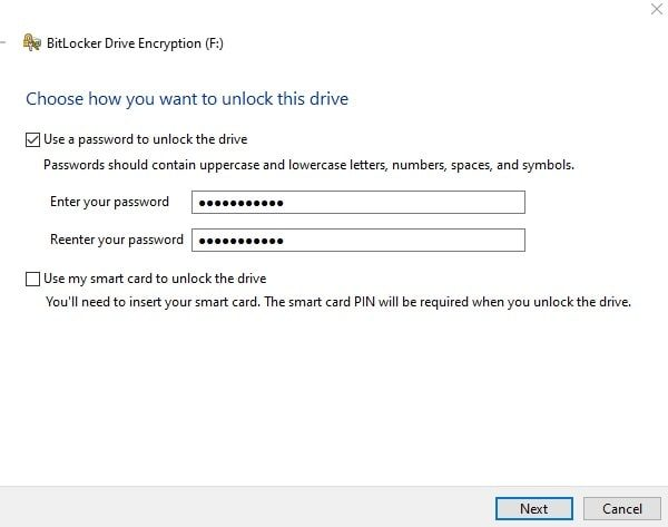 put a password on USB flash drive