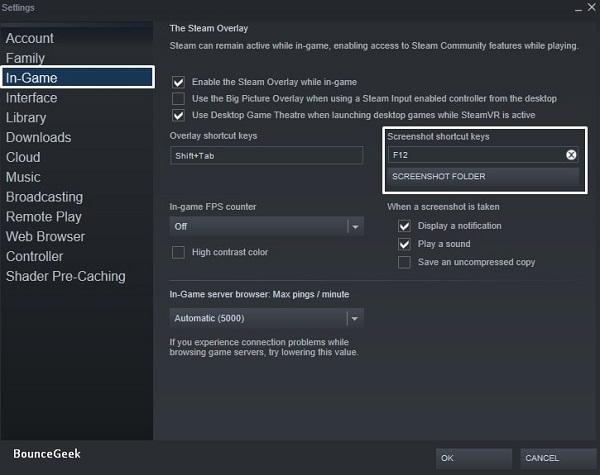 Change Steam Screenshot Shortcut Keys