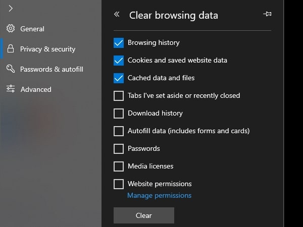 Clear Microsoft Edge Cache and Cookies