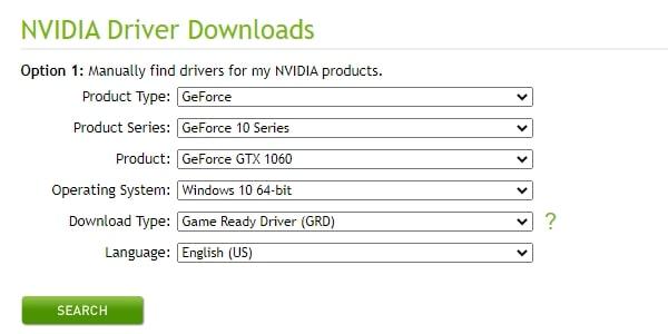 Enter NVIDIA Driver Information
