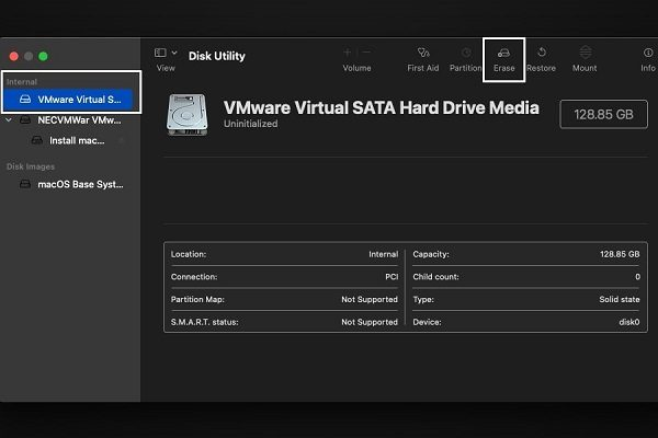 Erase VMware Virtual SATA Hard Drive Media