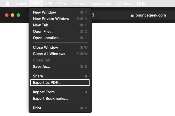 Export as PDF - Safari Browser