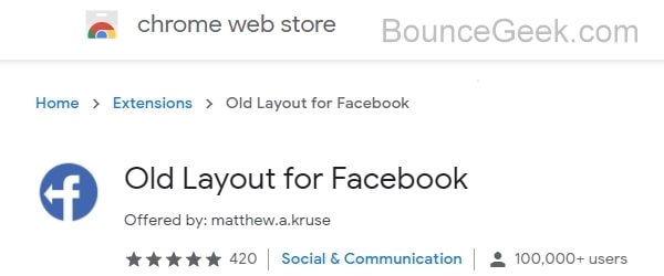 Old Layout for Facebook Chrome Extension