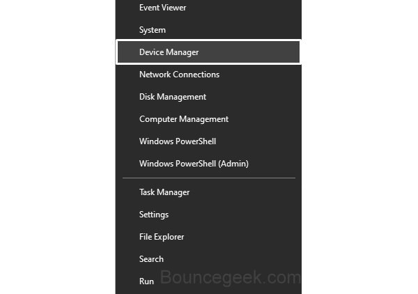 Open Device Manager WinX Menu