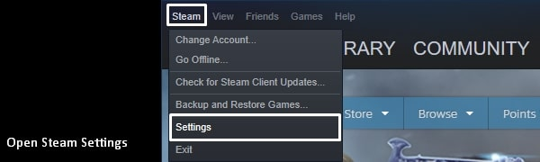 Open Steam Client Settings