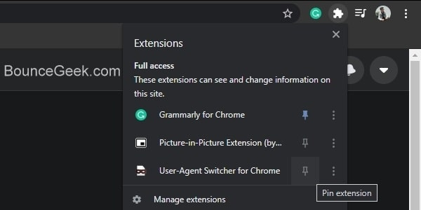 Pin User Agent Switcher Extension